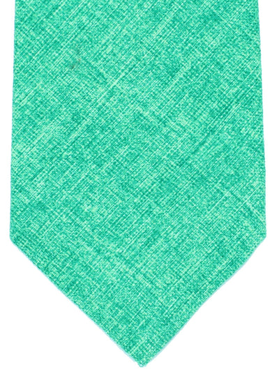 Isaia Sevenfold Tie Solid Green Design Cotton