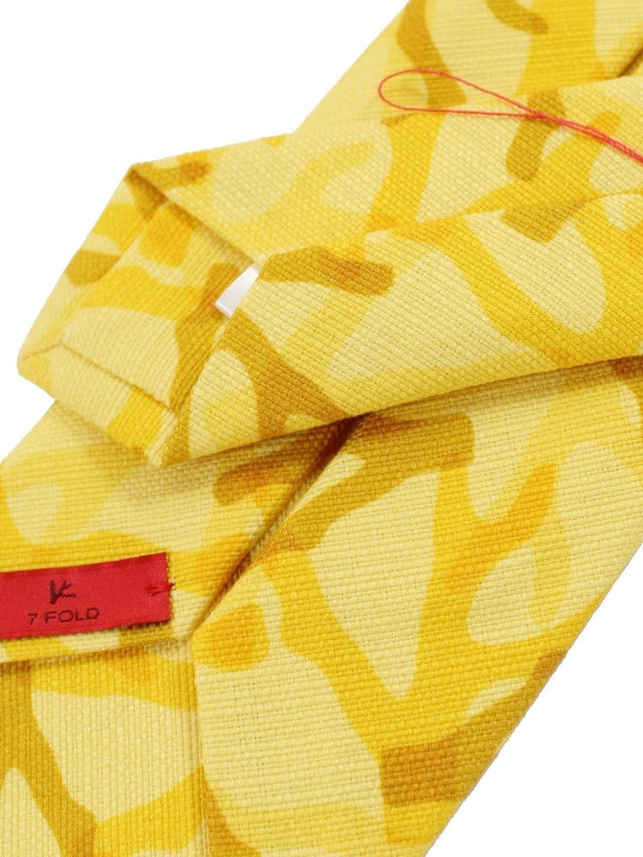 Isaia Napoli Tie Yellow Coral Cotton Sevenfold Tie FINAL SALE