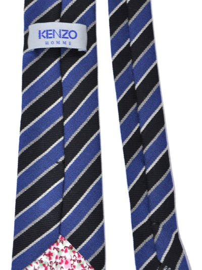 Kenzo Wool Tie Navy Silver Stripes - Narrow Necktie SALE