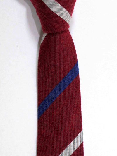 Kenzo Tie Burgundy Navy Gray Stripes Wool Necktie