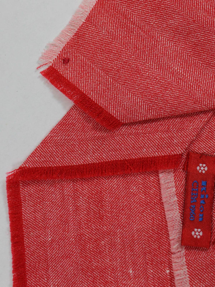 Kiton Tie Linen Cashmere Red Design Genuine