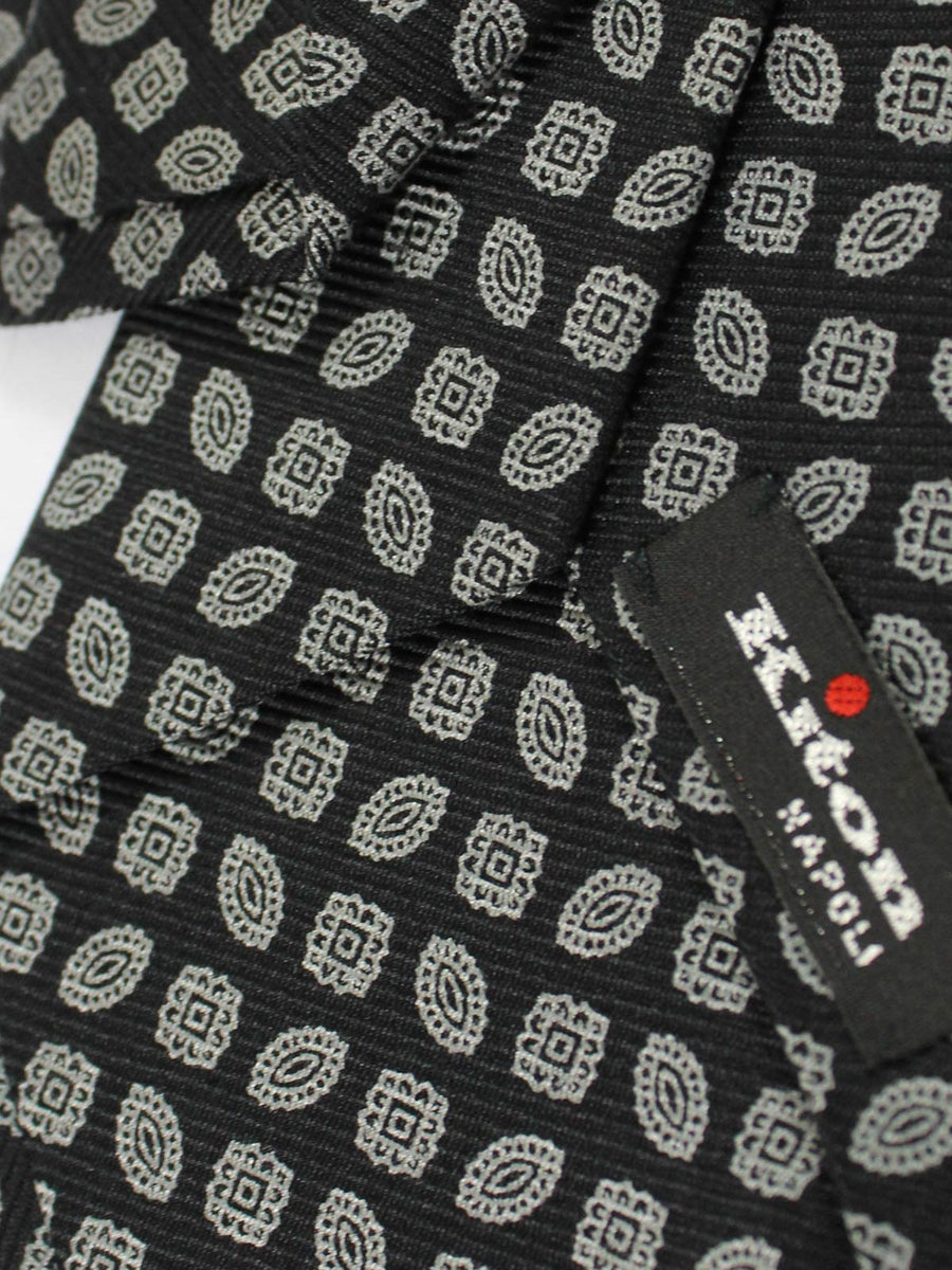 Kiton Silk Necktie Black Gray