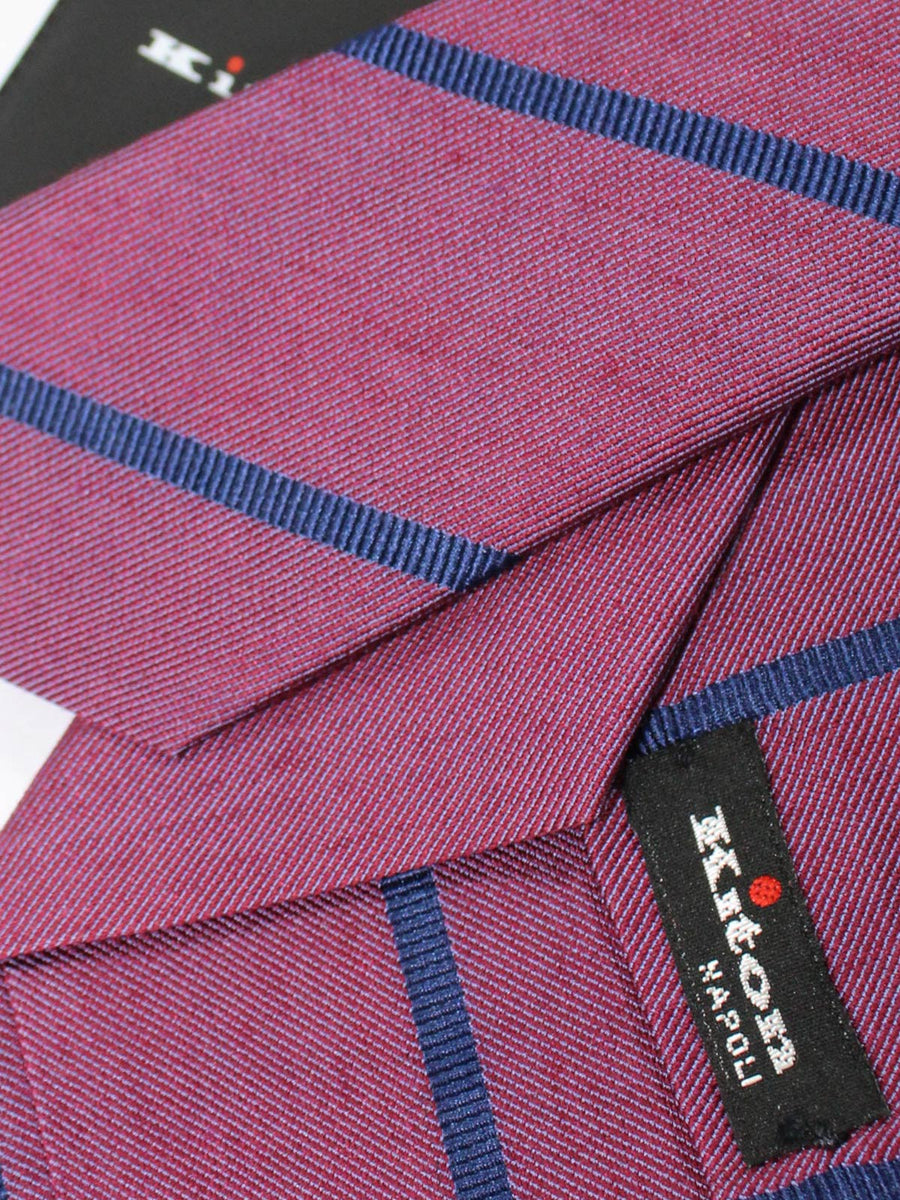 Kiton Sevenfold Tie Purple Navy Stripes
