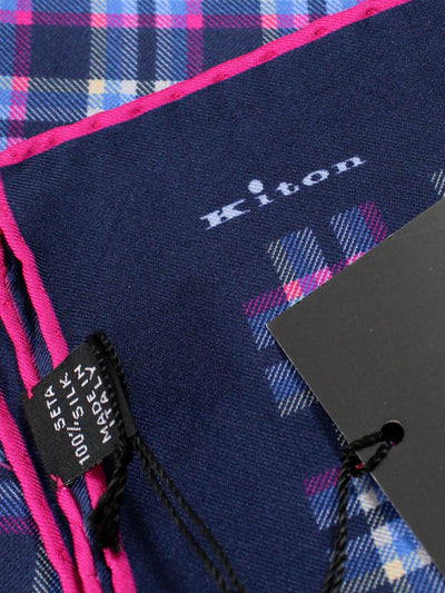Kiton Silk Pocket Square Navy Pink Check Plaid