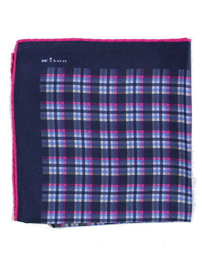 Kiton Pocket Square Navy Pink Check Plaid