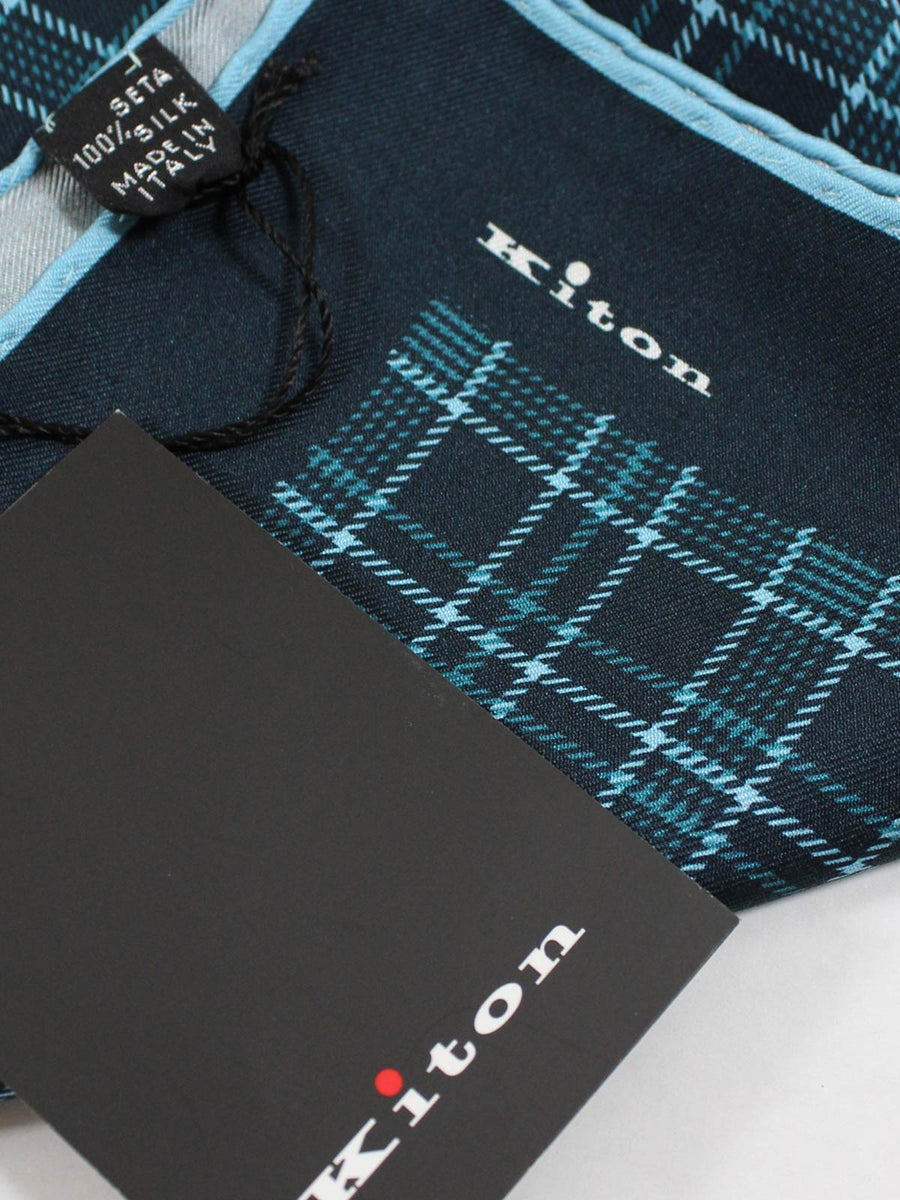 Kiton Pocket Square Dark Blue Aqua Check Plaid