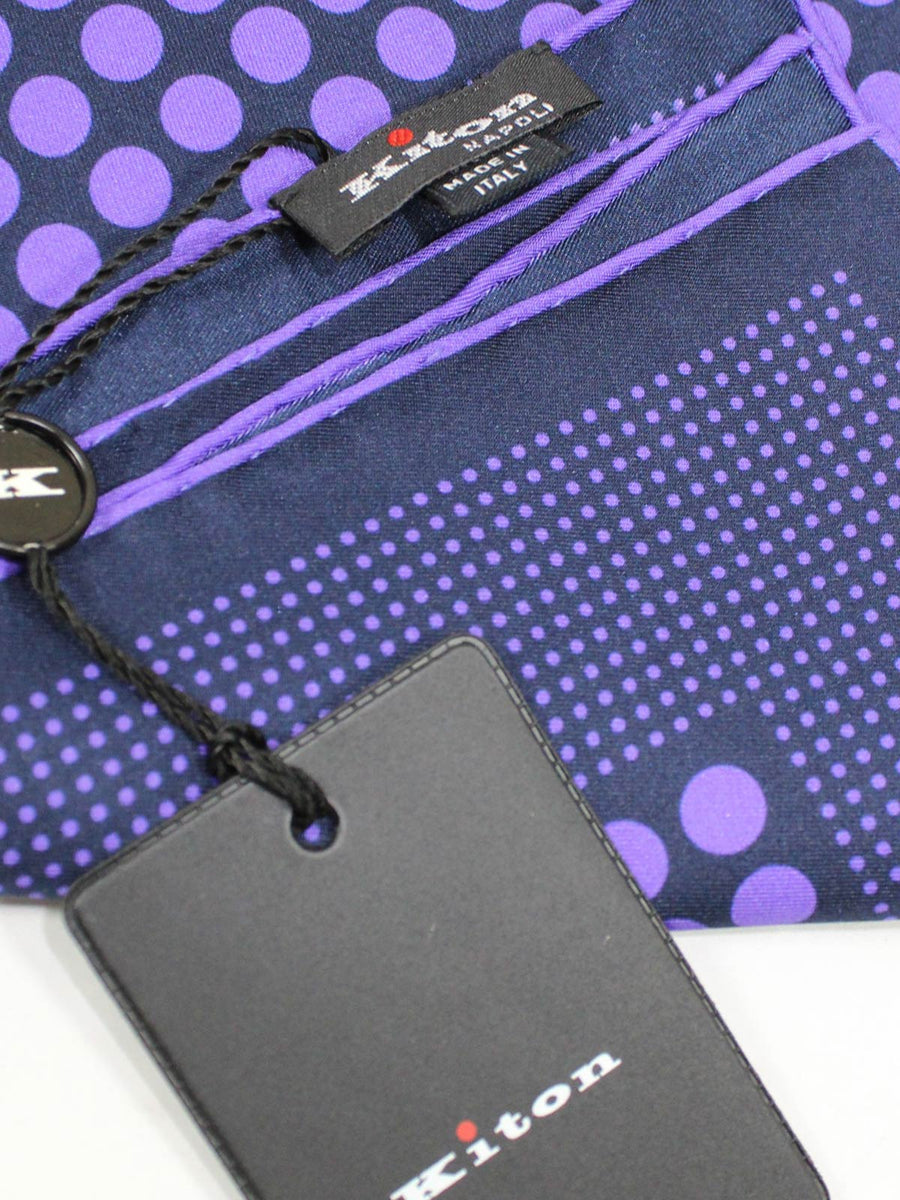 Kiton Pocket Square Purple Polka Dots New