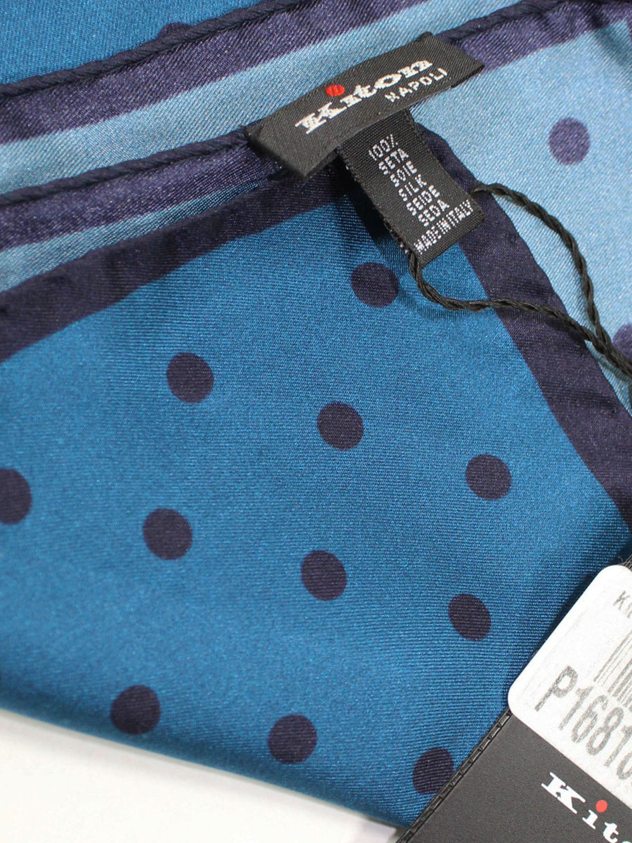 Kiton Pocket Square Midnight Blue Polka Dots