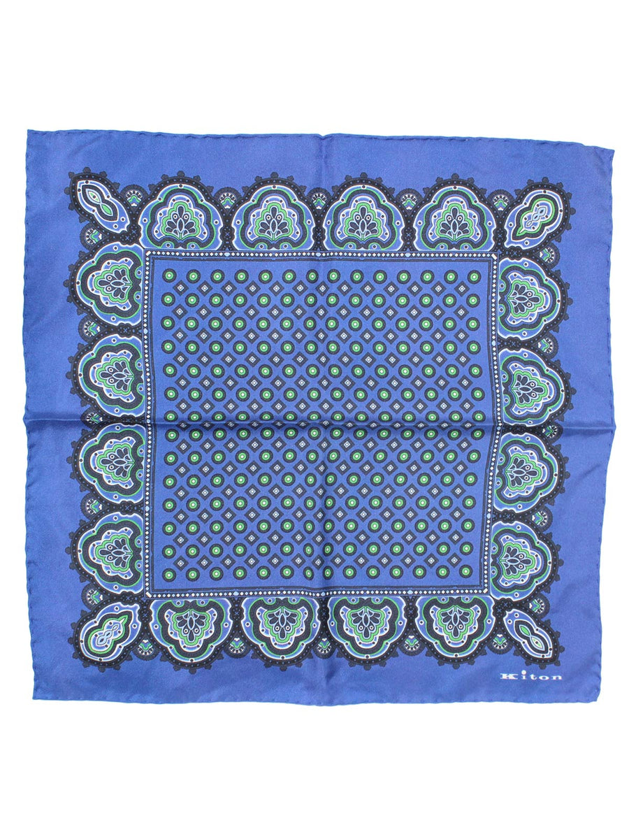 Kiton Pocket Square Midnight Blue Design