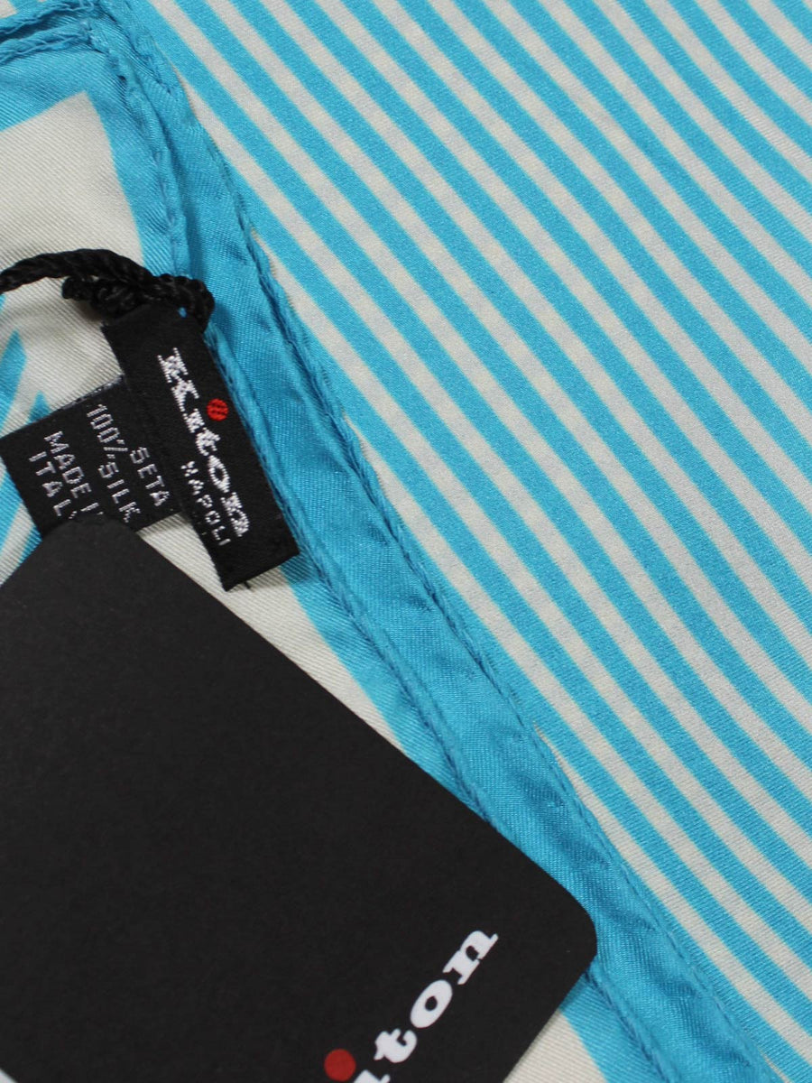 Kiton Pocket Square White Aqua SALE