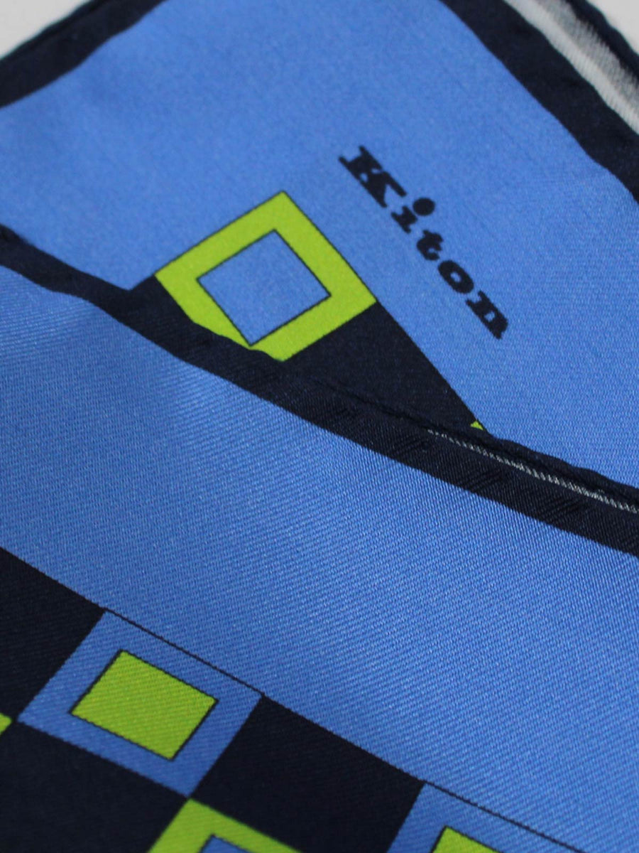 Kiton Pocket Square Blue Navy lime Squares SALE