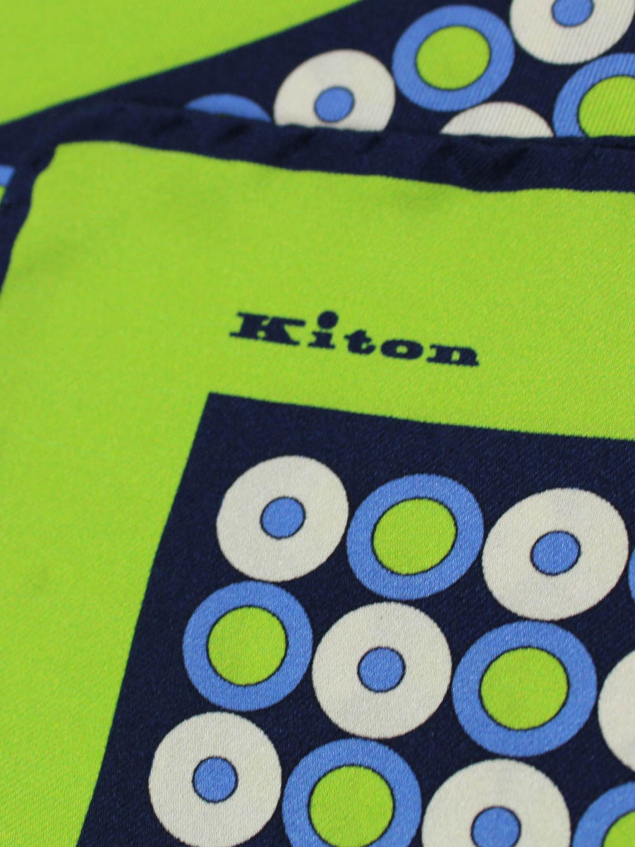 Kiton Pocket Square Blue Navy Lime Circles & Dots SALE