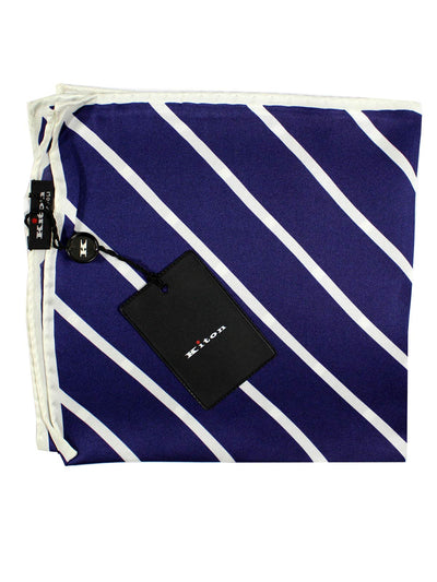 Kiton Pocket Square Dark Blue White Stripes SALE