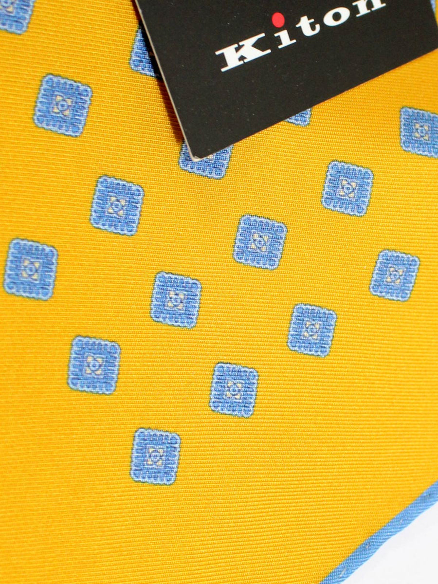 Kiton Silk Pocket Square Orange Blue