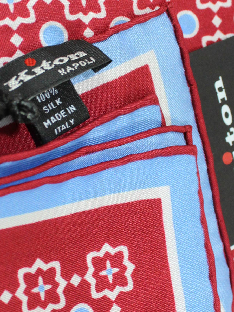 Kiton Pocket Square Red Sky Blue White Design