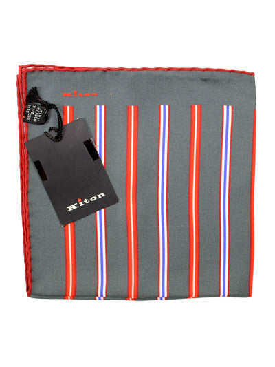 Kiton Pocket Square Taupe-Gray Red Stripes