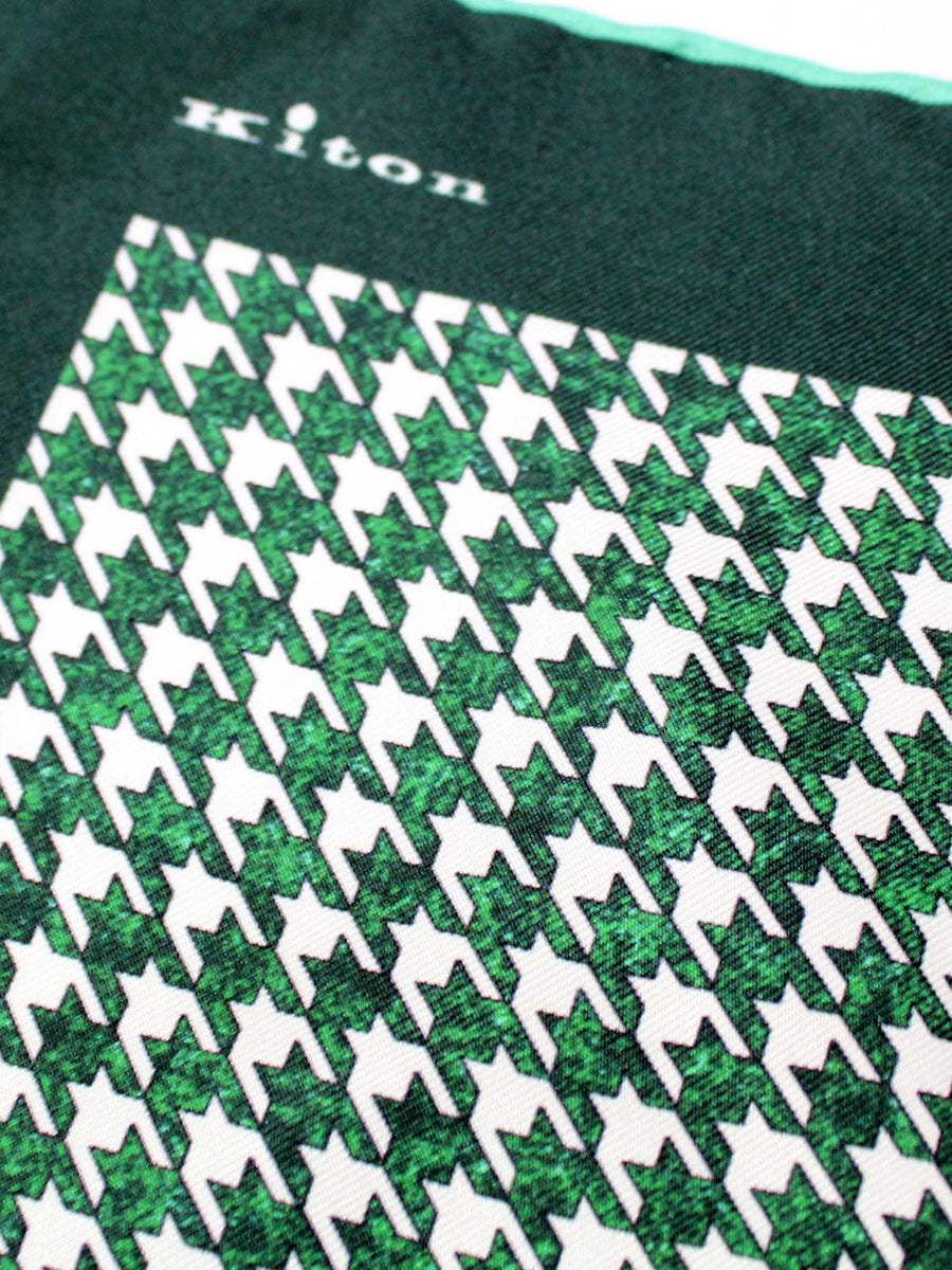 Kiton Silk Pocket Square Green Houndstooth