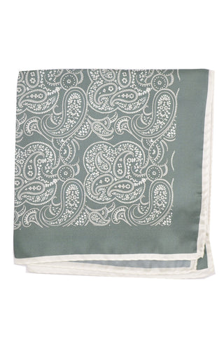 Kiton Silk Pocket Square Gray White Paisley SALE