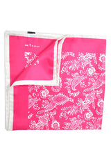 Kiton Silk Pocket Square Hot Pink White Paisley SALE