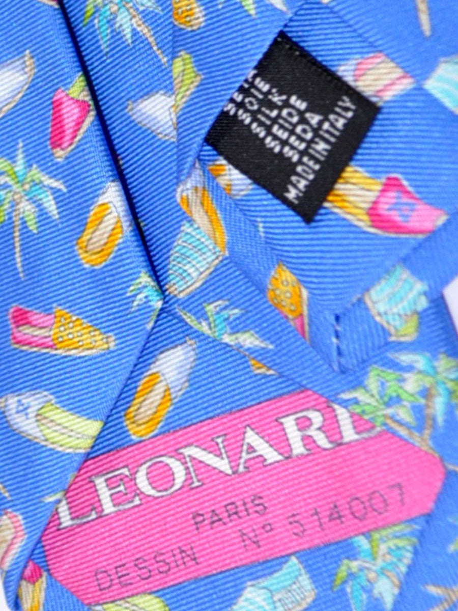 Leonard Tie Blue Alpargatas Shoe & Palm Trees - Narrow Cut Necktie FINAL SALE