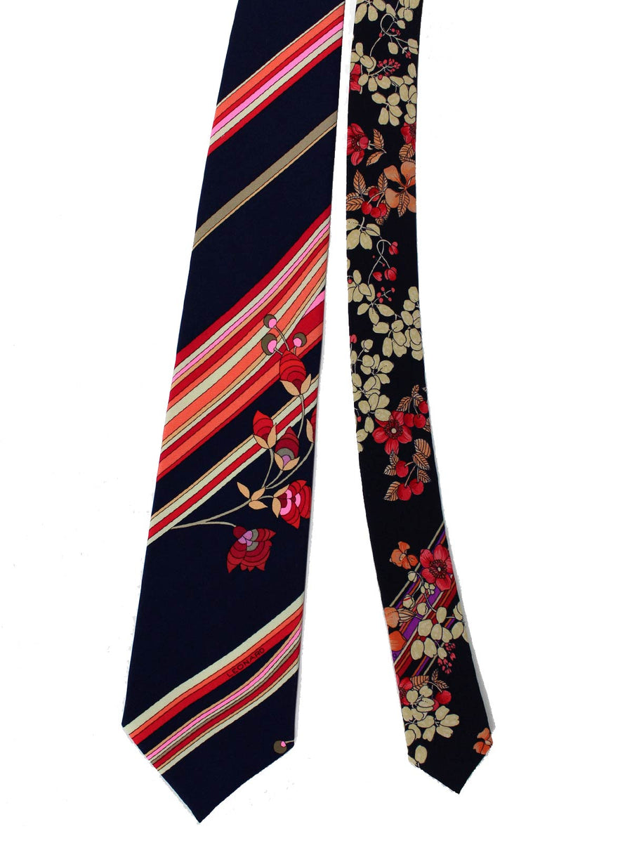 Leonard Tie Black Red Brown Stripes Floral - Vintage Collection