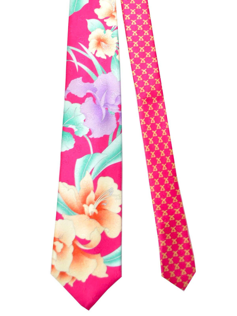 Leonard Tie Hot Pink Orange Green Floral Design SALE
