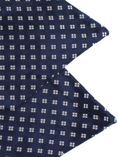 Silk Ascot Tie Navy Silver Geometric - Hand Made in Italy
