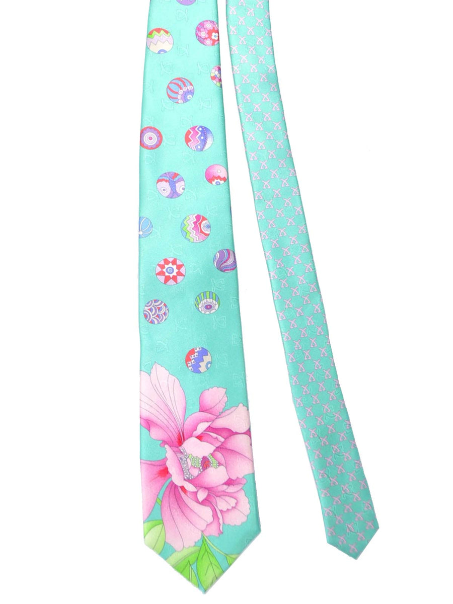Leonard Silk Tie Mint Green Pink Floral Design SALE