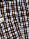 Mattabisch Dress Shirt Brown White Blue Check 44 - 17 1/2 REDUCED - SALE