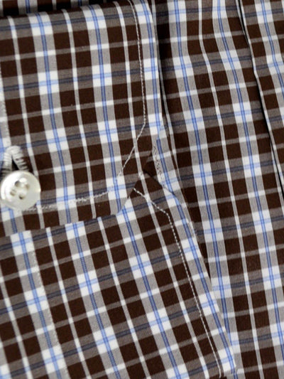Mattabisch Dress Shirt Brown White Blue Check 38 - 15 REDUCED - SALE