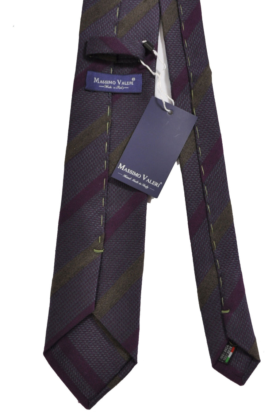 Massimo Valeri Extra Long Tie Purple Olive Stripe