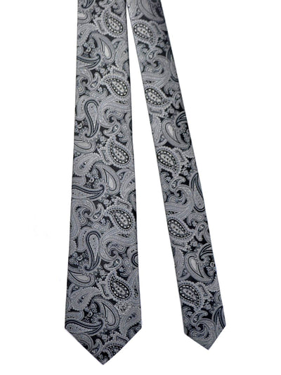 Versace Tie Black Silver Paisley - Made in Italy SALE