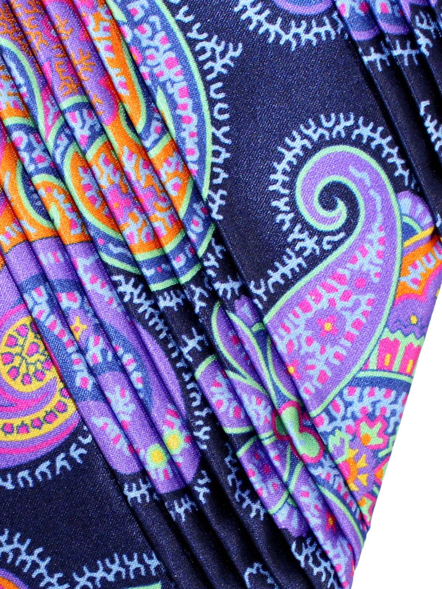 Vitaliano Pancaldi PLEATED SILK Tie Navy Lilac Orange Paisley Design Hand Made In Italy