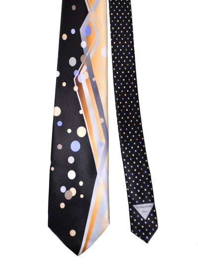 Vitaliano Pancaldi Tie Black Cream Lilac Dots
