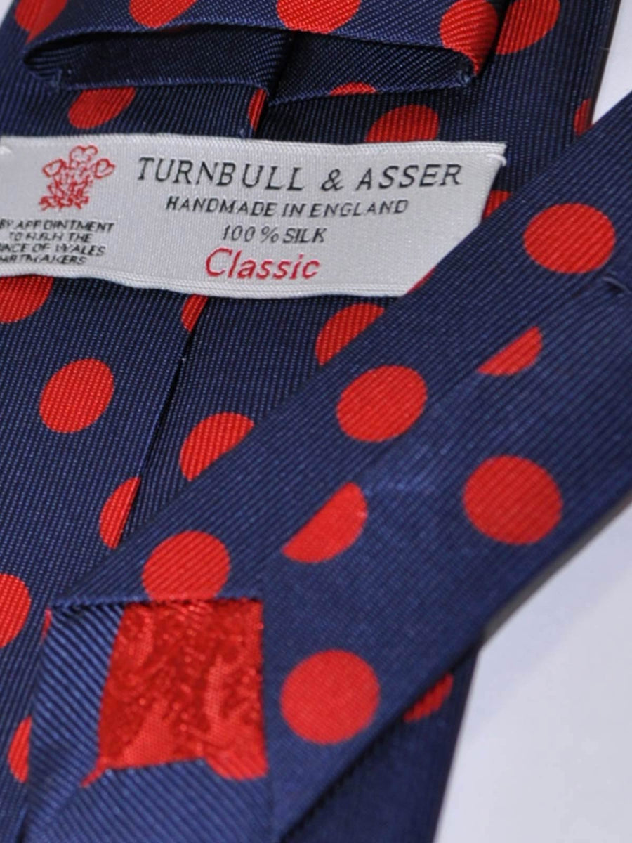 Turnbull & Asser Extra Long Tie Navy Red Polka Dots SALE