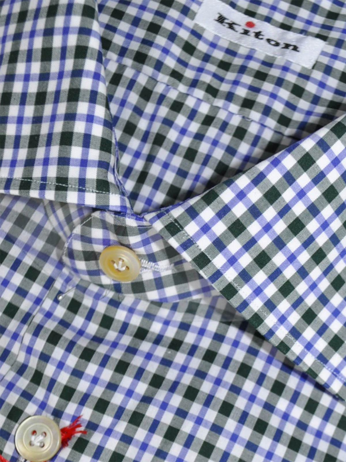 Kiton Dress Shirt White Purple Black Check Hand Made In Italy