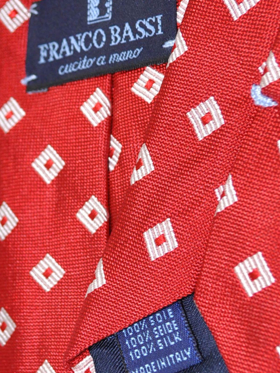 Franco Bassi Tie Red Silver Geometric - Made in Italy FINAL SALE
