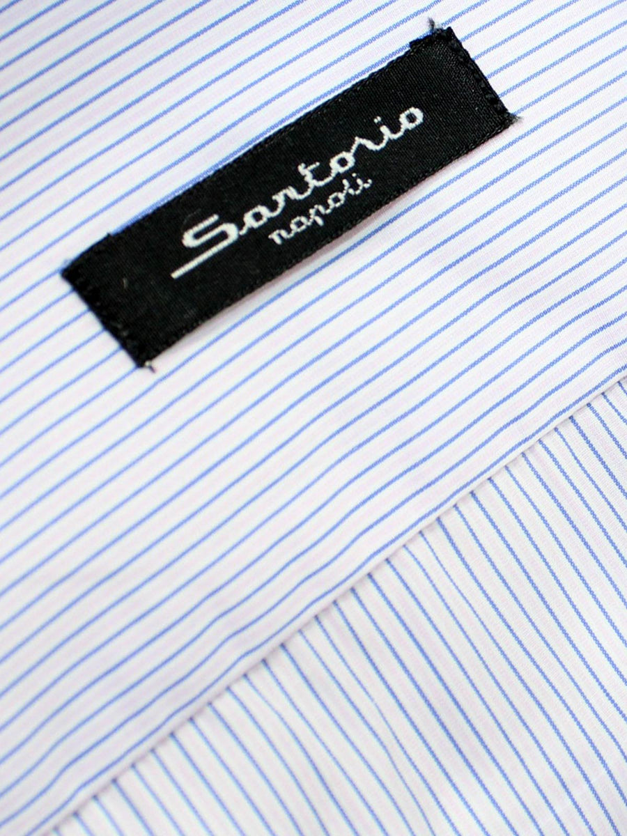 Sartorio Dress Shirt White Navy Pink Stripes