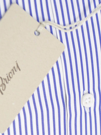 Brioni Dress Shirt White Navy Stripes 40 - 15 3/4