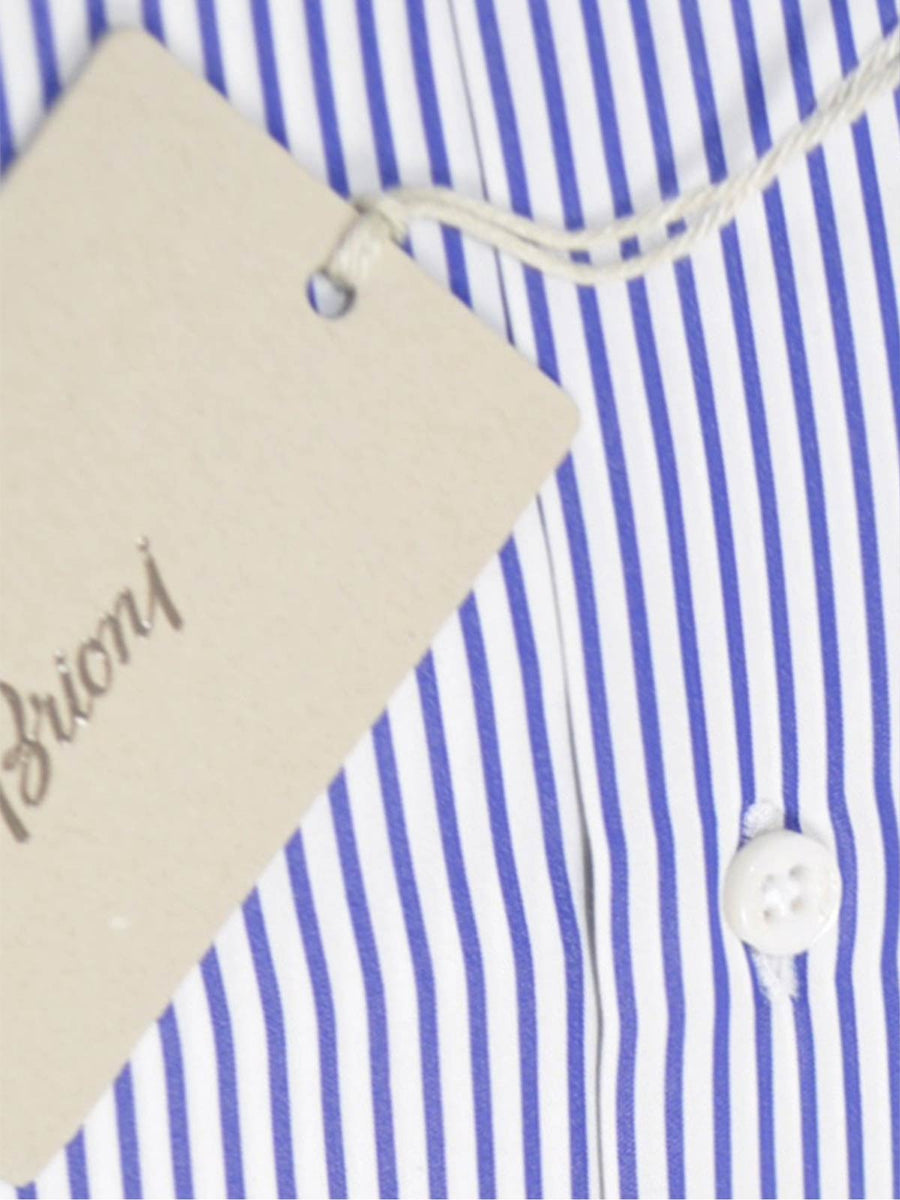 Brioni Dress Shirt White Navy Stripes