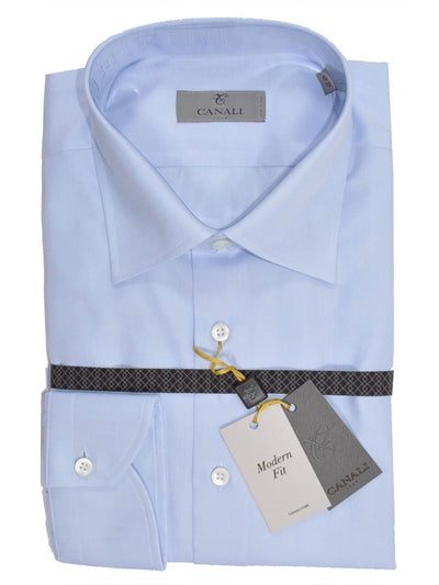 Canali Shirt Light Blue - Modern Fit Dress Shirt