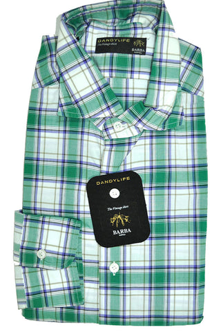 Barba Sport Shirt White Green Plaid 40 - 15 3/4 - FINAL SALE