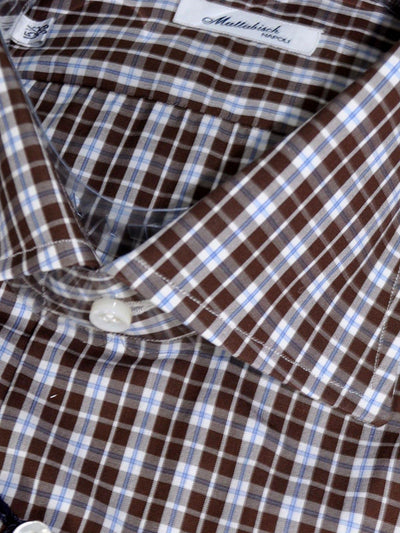 Mattabisch Napoli Shirt Brown White Blue Check