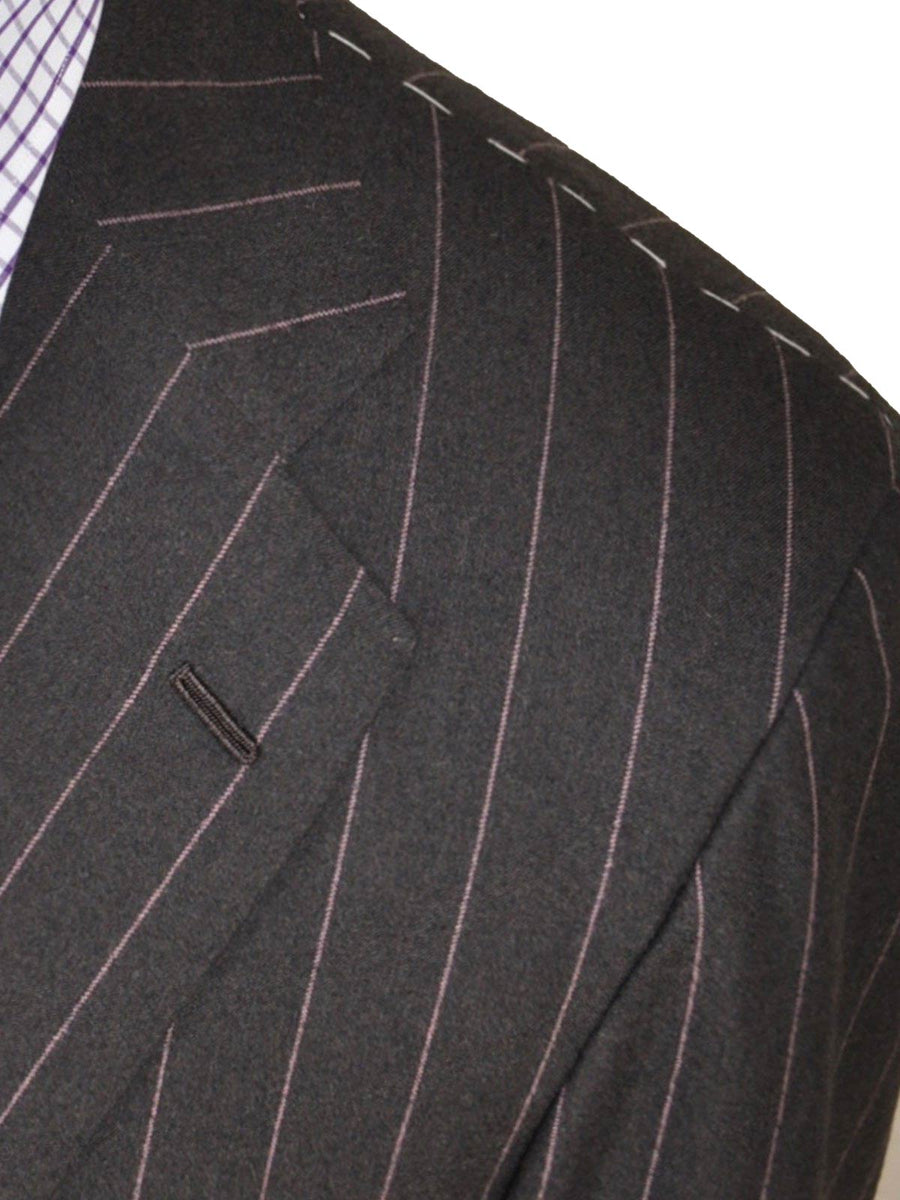 Kiton Suit Gray Pink Stripes Wool Two Button