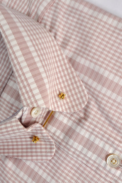 Tom Ford Shirt Pink White Stripes Check 40 - 15 3/4 FINAL SALE