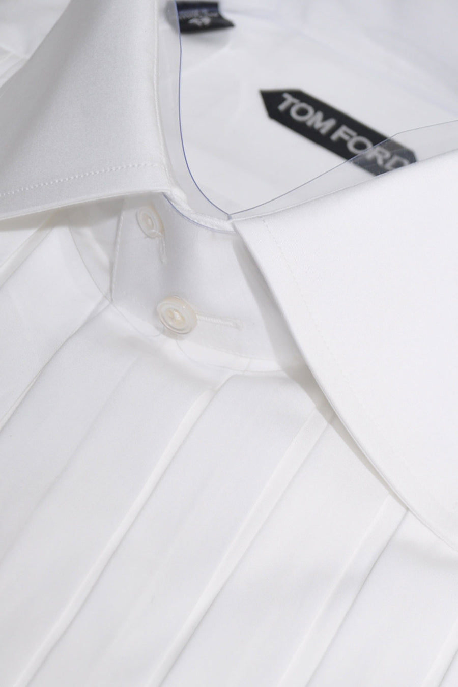 Tom Ford Tuxedo Shirt White Plisse Plastron High Stand Collar