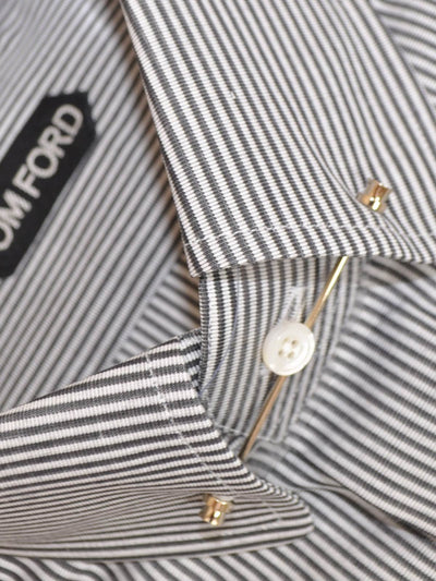 Tom Ford Dress Shirt White Gray Stripes Pin Collar 41 - 16 SALE