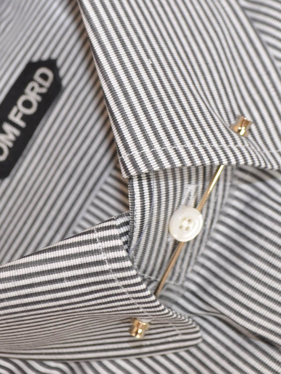 Tom Ford Dress Shirt White Gray Stripe