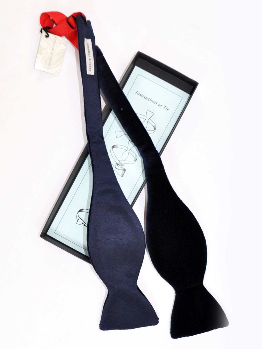 Turnbull & Asser Velvet Bow Tie Navy - Self Tie Bow Tie