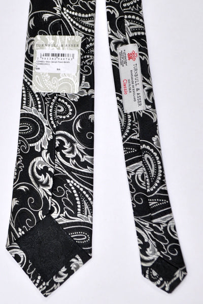 Turnbull & Asser Tie Black Gray Paisley